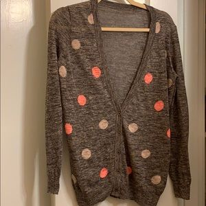 J. Crew women's lightweight polka dot cardigan